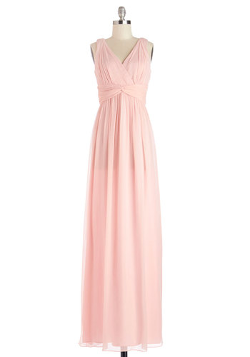 Grand Guest Dress in Rose - Maxi, Prom, Wedding, Bridesmaid, Pastel, Chiffon, Woven, Long, Pink, Solid, Ruching, Special Occasion, Sleeveless, Variation, V Neck