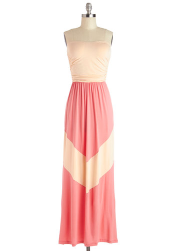 Easygoing Agenda Dress - Tan / Cream, Coral, Casual, Maxi, Strapless, Summer, Good, Better, Long, Knit, Ruching, Beach/Resort