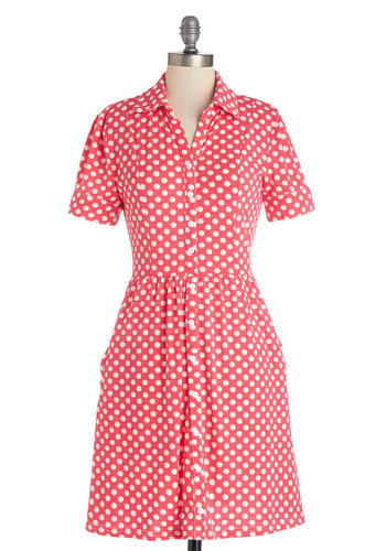 Writing Love Letters Dress - Pink, White, Polka Dots, Buttons, Casual, A-line, Short Sleeves, Summer, Good, Collared, Knit, Mid-length, Pockets, Shirt Dress, Spring