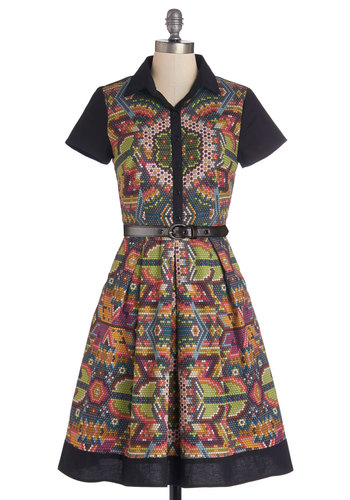 Shimmer Camp Dress - Multi, Print, Buttons, Pockets, Belted, Shirt Dress, Short Sleeves, Better, Collared, Pleats, A-line, Exclusives, Cotton, Boho, Festival, Woven, Casual, Top Rated, Full-Size Run, Long