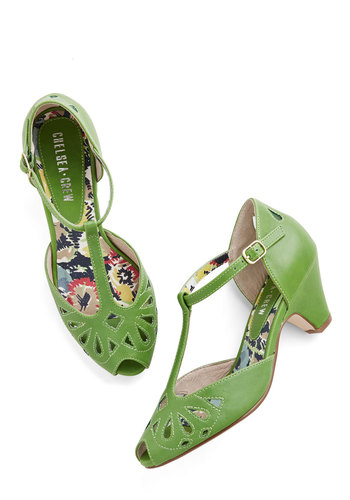 Take a Little Dip Heel in Lime by Chelsea Crew - Green, Solid, Cutout, Vintage Inspired, 20s, 30s, Peep Toe, Mid, Leather, Better, T-Strap, Party, Casual, Cocktail, Fruits