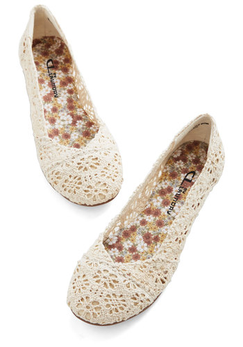 Loop Me In Flat - Cream, Solid, Crochet, Casual, Flat