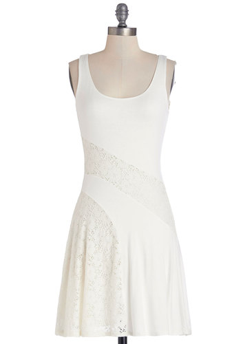 Bake It 'Til You Make it Dress - Solid, Lace, Daytime Party, A-line, Sleeveless, Better, Scoop, Knit, Mid-length, White, Casual