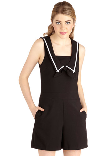 Sass Pacific Romper - Best, Black, Non-Denim, Romper, Long, Black, Solid, Bows, Pockets, Casual, Nautical, Pinup, Vintage Inspired, Summer, Collared, Sleeveless, Woven, Spring