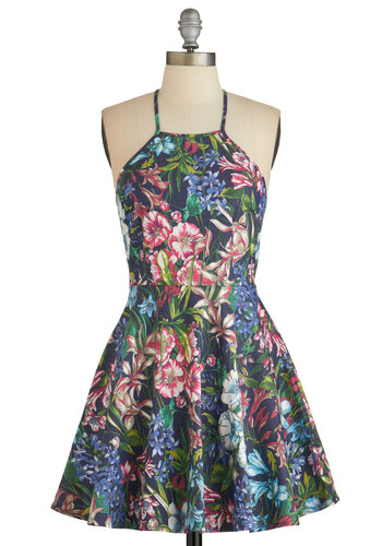Botanical Beginnings Dress - Multi, Floral, Casual, Sundress, A-line, Good, Scoop, Summer, Woven, Mid-length, Spaghetti Straps