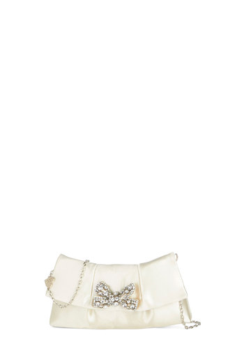 Betsey Johnson Dance Floor Delight Clutch by Betsey Johnson - White, Solid, Bows, Rhinestones, Special Occasion, Wedding, Luxe, Better, White, Woven, Bride