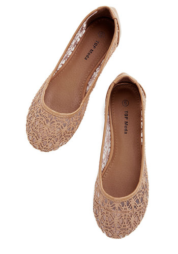 A Step of Fresh Air Flat - Flat, Tan, Lace, Fairytale, Solid, Work, Daytime Party, Spring, Summer, Sheer, Top Rated