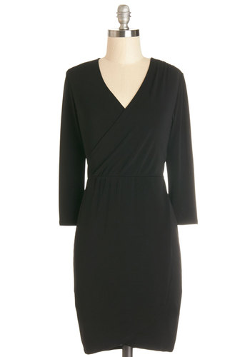 Poetic Prowess Dress - Short, Black, Solid, Casual, Wrap, Long Sleeve, Good, V Neck, Work, Knit, Minimal, Top Rated