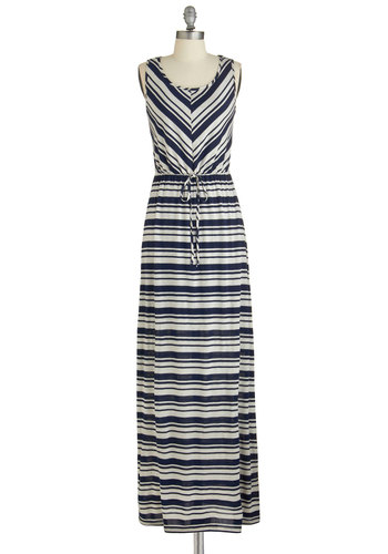 Lively Launch Dress - Blue, White, Stripes, Casual, Beach/Resort, Maxi, Sleeveless, Summer, Good, Scoop, Long, Jersey, Knit, Belted, Nautical, Cover-up