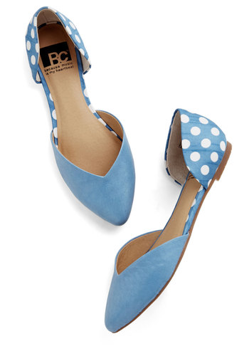 Dreaming of Destinations Flat in Sky by BC Footwear - Flat, Leather, Woven, Blue, White, Polka Dots, Daytime Party, Better, Variation, Casual