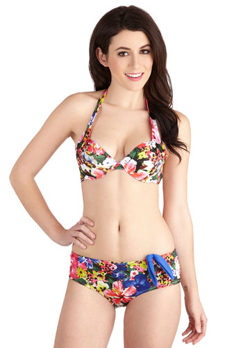 Sunshowers for Hours Swimsuit Top - Multi, Beach/Resort, Summer, Knit, Floral, Halter, Underwire