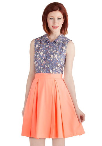 Naturally Nimble Skirt in Neon Peach - Good, Orange, Mid-length, Orange, Solid, Pleats, Neon, Spring, Summer, Full, Variation, Work