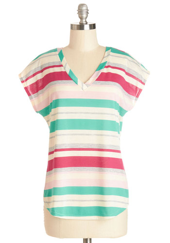 One Sorbet Please Top - Mid-length, Multi, Green, Pink, Grey, White, Stripes, Casual, Short Sleeves, Spring, V Neck, Multi, Short Sleeve, Summer