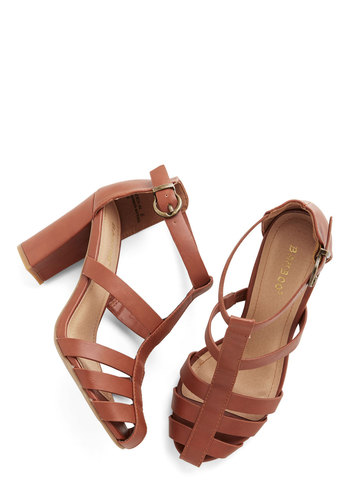 Riviera Tour Heel - Mid, Faux Leather, Tan, Solid, Cutout, Daytime Party, Beach/Resort, Chunky heel
