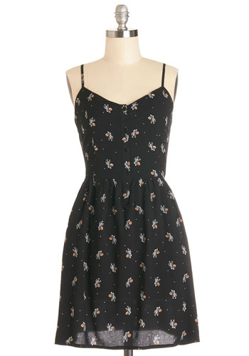 How Do You Zoo? Dress - Black, White, Print with Animals, Buttons, Casual, A-line, Better, V Neck, Woven, Mid-length, Pockets, Quirky, Spaghetti Straps, Sundress, 90s, Critters