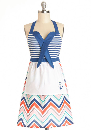 Maritime to Eat Apron - Woven, Multi, Nautical, Better, Cotton, Chevron, Gals, Summer