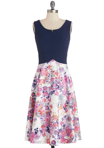 Known to Impress Dress - Floral, A-line, Sleeveless, Better, Woven, Long, Blue, Daytime Party, Multi, Show On Featured Sale