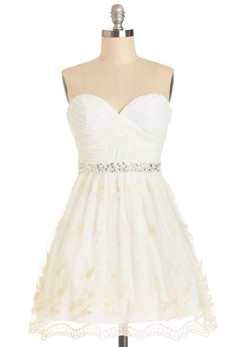 Graduation Dance Dress - White, Tan / Cream, Embroidery, Pearls, Rhinestones, Ruching, Special Occasion, Prom, A-line, Strapless, Better, Sweetheart, Top Rated, Wedding, Bride, Homecoming