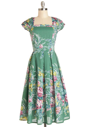 Sightsee and Be Seen Dress in Terrace - Cotton, Woven, Green, Multi, Floral, Pleats, A-line, Better, Vintage Inspired, 50s, Cap Sleeves, Variation, Daytime Party, Long