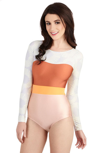 Best for Splash One-Piece Swimsuit by Seea - Knit, Orange, Grey, Solid, Beach/Resort, 80s, Colorblocking, Multi, Pink, Vintage Inspired, Long Sleeve, Summer, Eco-Friendly
