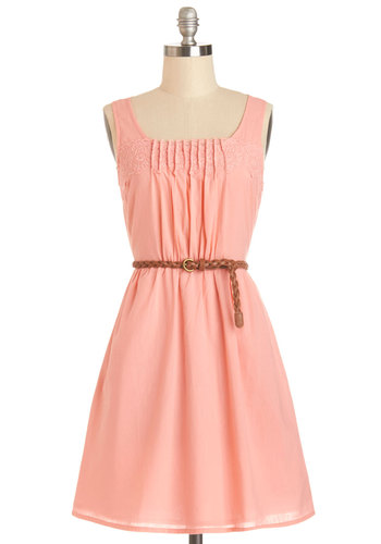 Rules of Strum Dress in Coral - Solid, Cutout, Lace, Pleats, Belted, Casual, Sundress, Pastel, A-line, Sleeveless, Summer, Woven, Good, Scoop, Mid-length, Cotton, Coral, Variation
