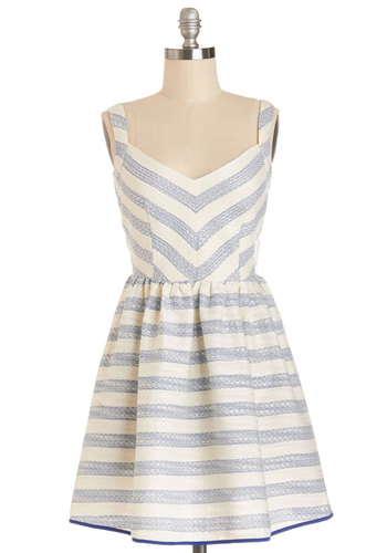 The Port the Merrier Dress in Stripes - Blue, Stripes, Backless, Exposed zipper, Casual, Sundress, A-line, Sleeveless, Better, V Neck, Nautical, Short, Tan / Cream, Pockets, Americana, Woven