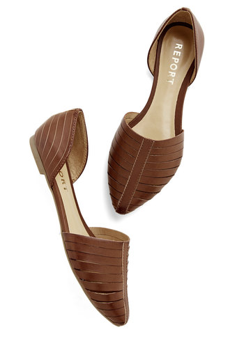 Sweet You Off Your Feet Flat in Maple - Flat, Faux Leather, Solid, Cutout, Casual, Good, Brown, Work, Variation