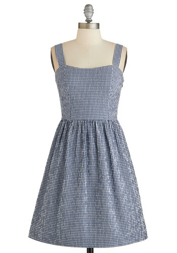 Canoe Imagine That? Dress - Blue, White, Checkered / Gingham, Cutout, Casual, A-line, Tank top (2 thick straps), Better, Sundress, Americana, Woven, Mid-length