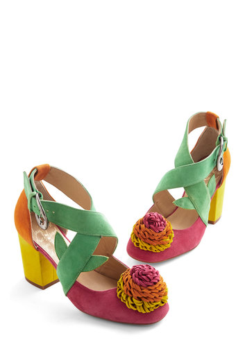 Speed of Bright Heel by Minna Parikka - Mid, Leather, Multi, Solid, Flower, Party, Daytime Party, Statement, Quirky, Colorblocking, Best, Chunky heel, Strappy, Suede, Fruits