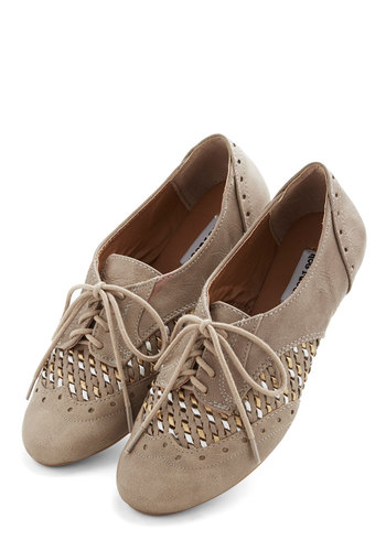 Sprinkling of Shimmer Flat in Taupe - Flat, Faux Leather, Grey, Solid, Woven, Menswear Inspired, Vintage Inspired, 20s, Good, Lace Up, Variation