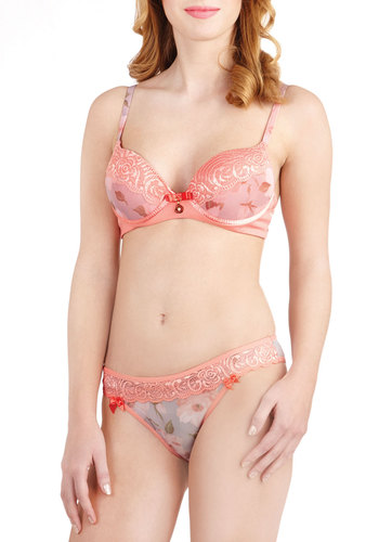 Pretty in Posy Bra and Undies Set - Sheer, Knit, Floral, Bows, Trim, Multi, Orange, Pink, Grey, Lace, Boudoir, Darling