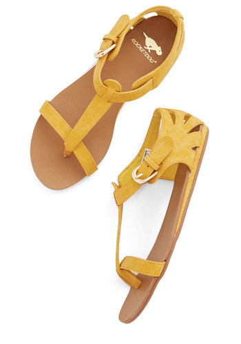 Walk on Sunshine Sandal in Yellow - Flat, Faux Leather, Yellow, Solid, Cutout, Summer, Good, Casual, Beach/Resort, Festival, Social Placements