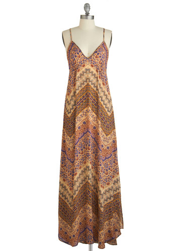 Avant-Garde Advantage Dress - Festival, Maxi, Multi, Print, Casual, Better, V Neck, Woven, Long, Boho, Spaghetti Straps, Vintage Inspired, 70s