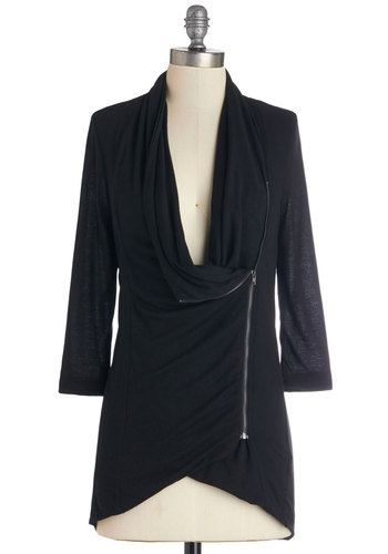 Portside Greeting Cardigan in Black - Knit, Mid-length, Black, Solid, Exposed zipper, Casual, 3/4 Sleeve, Fall, Variation, Cowl, Black, 3/4 Sleeve, Pockets