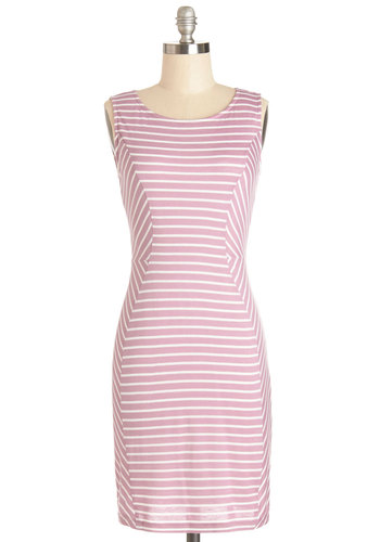 Work Every Angle Dress - Pink, White, Stripes, Casual, Shift, Sleeveless, Summer, Good, Scoop, Mid-length, Knit