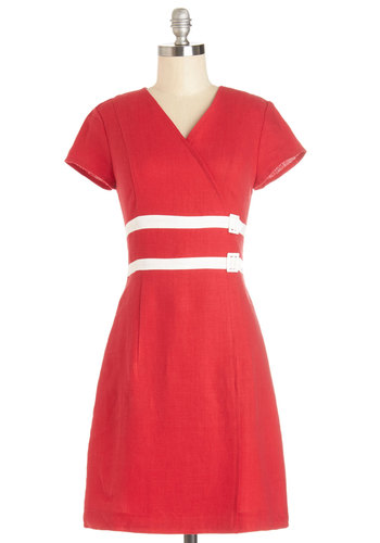 Go-Go Getter Dress - Red, White, Belted, Casual, Vintage Inspired, 60s, Mod, A-line, Short Sleeves, Better, V Neck, Mid-length, Woven