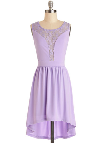 First Violet, First Chair Dress - Lavender, Solid, Lace, A-line, Sleeveless, Good, Scoop, Short, Sheer, Woven, High-Low Hem, Casual, Party