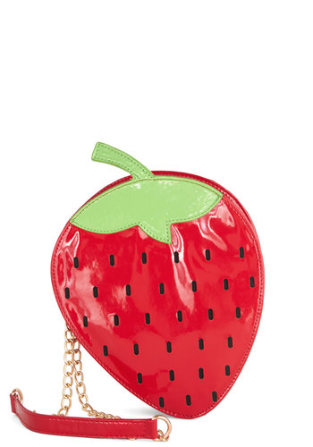 Strawberry Feels Forever Bag - Green, Black, Fruits, Good, Red, Red, Spring, Summer, Novelty Print, Faux Leather, Quirky