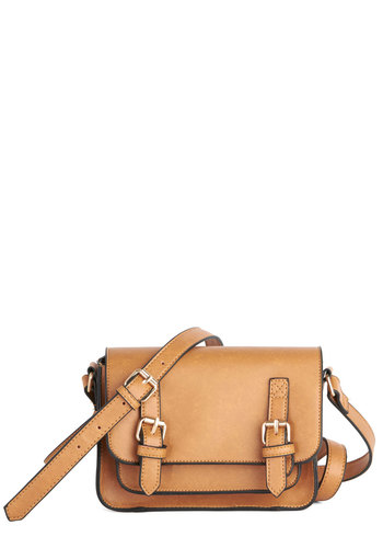 Buckle Up Satchel - Tan, Gold, Solid, Buckles, Scholastic/Collegiate, Faux Leather, Summer, Social Placements