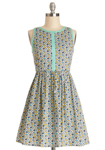 Give You a Print Dress in Hexagons by Mata Traders - Multi, Print, Trim, Casual, A-line, Sleeveless, Better, Scoop, Woven, Short, Cotton, Eco-Friendly, Variation, Spring