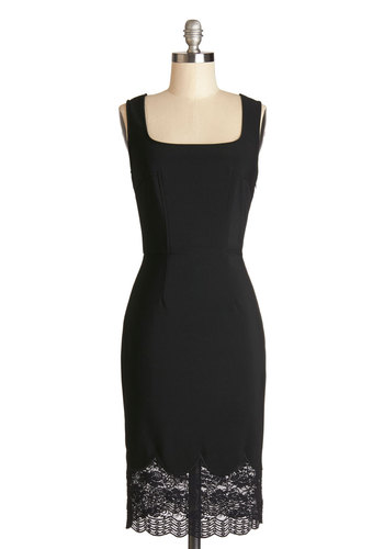 You're Too Swank Dress - Black, Solid, Lace, Scallops, Party, Shift, Sleeveless, Good, Long, Knit, Lace, Cocktail, LBD