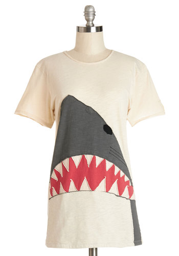 It's Never Too Bait Tee by Heel Athens Lab - Cream, Grey, Print with Animals, Casual, Critters, Short Sleeves, Summer, International Designer, White, Short Sleeve, Nautical, Quirky, Crew, Cotton, Knit, Long, Guys, Halloween