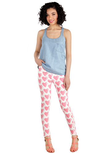 You're All Heart Jeans by Lazy Oaf - White, Novelty Print, Pockets, Casual, Valentine's, Quirky, Skinny, Spring, Summer, Better, Mid-Rise, Full length, White, Colored, Printed/Patterned, Denim, Cotton, Denim, Woven, Pink, Fall, Winter