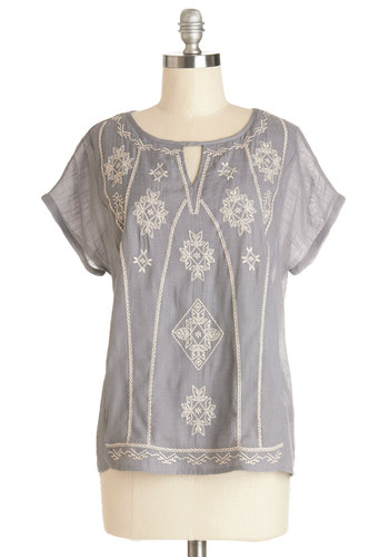 Tea and Tales Top - Better, Grey, Short Sleeve, Embroidery, Work, Boho, Short Sleeves, Spring, Summer, Grey, Tan / Cream, Casual, Festival, Mid-length, Good, Top Rated