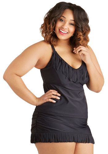 Boho Breezy Swimsuit Top in Plus Size by Jessica Simpson Swim - Knit, Black, Solid, Fringed, Beach/Resort, Boho, Summer, High Waist, Tankini, Skirted