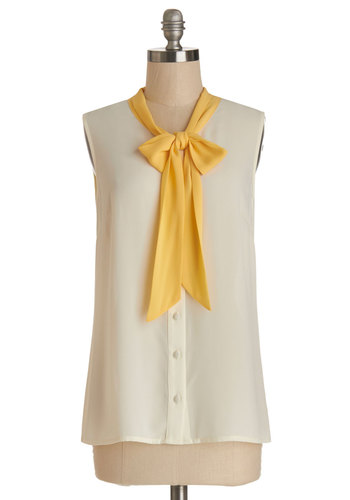 Madison Aptitude Top in Creme - Cream, Yellow, Solid, Buttons, Work, Darling, Sleeveless, Spring, Summer, White, Sleeveless, Tie Neck, Exclusives, Mid-length
