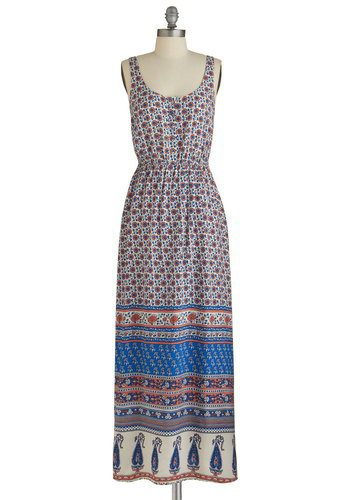 Copacetic Story Dress - Multi, Buttons, Casual, Festival, Maxi, Sleeveless, Good, Scoop, Long, Woven, Floral, Boho