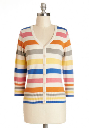 Charter School Cardigan in Bold Stripes - Knit, Mid-length, Multi, 3/4 Sleeve, Multi, Stripes, Buttons, Casual, 3/4 Sleeve, Spring, Variation, Best Seller