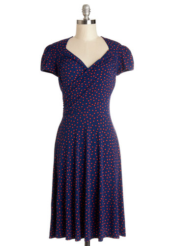 Kelly's Vivid in the Moment Dress in Confetti - Nautical, Blue, Red, Polka Dots, Casual, A-line, Knit, Better, V Neck, Cap Sleeves, Work, Americana, Mid-length