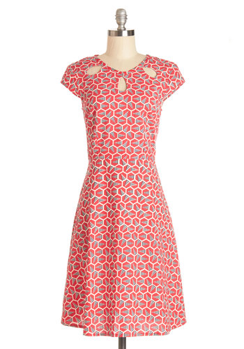 Fete with Friends Dress by Mata Traders - Red, Tan / Cream, Print, Cutout, Casual, A-line, Cap Sleeves, Woven, Better, Scoop, Eco-Friendly, Cotton, Long, Blue, Full-Size Run